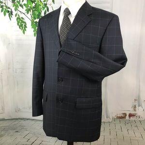 Tasso Elba 3Btn Wool Navy Plaid Sport Coat 40R